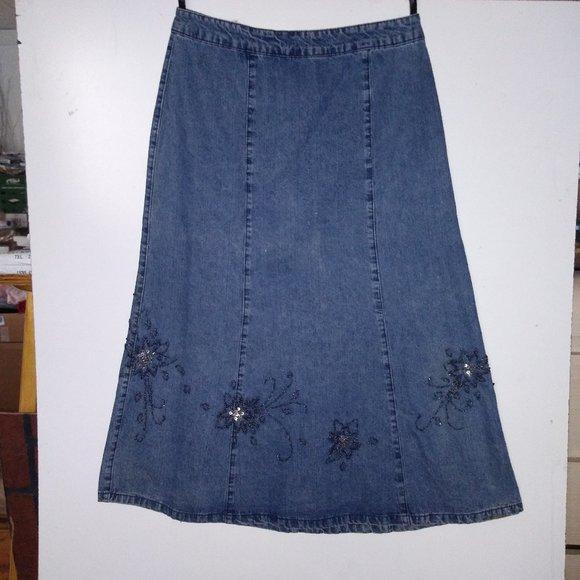 Denim midi skirt Embellished beads Modest paneled